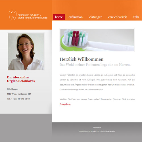Website Zahnärztin