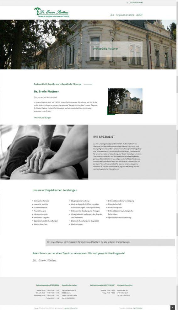 Orthopäde Website Homepage erstellen lassen Webdesign Agentur Wordpress SEO Erwin Plattner