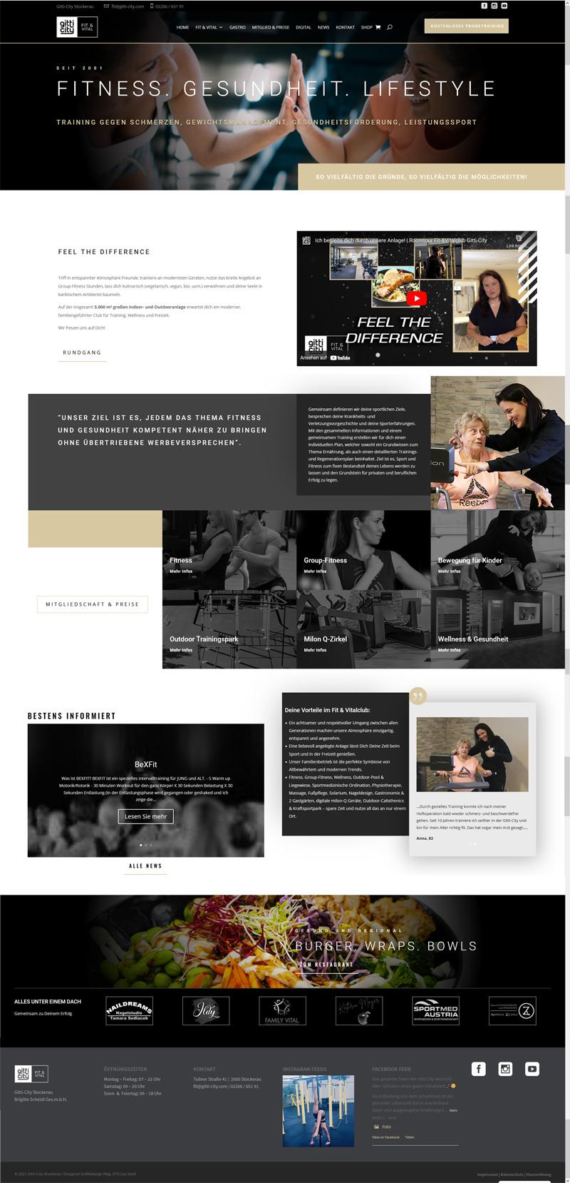 Website, Homepage, Webdesign, Gitt-City Stockerau, Fitnesscenter